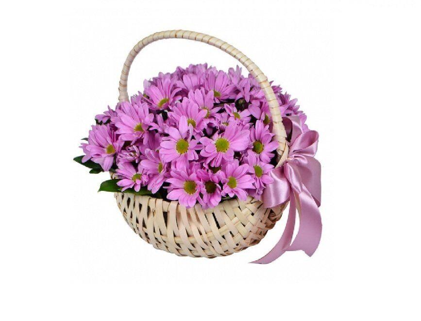 Цветочный магазин, букет из хризантем в корзине